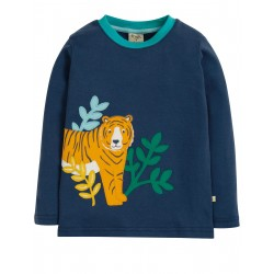 "T-shirt ""Adventure Applique Top, Space Blue/Tiger"" - coton bio"