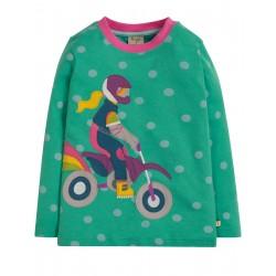 "T-shirt ""Discovery Applique Top, Topaz Blue Polka/Biker - coton bioo"