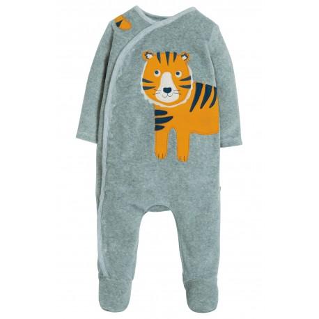 """Pyjama bébé """"Stevie Swoop Babygrow, Grey Marl/Tiger"""" - coton bio"""