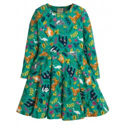 "Robe ""Sofia Skater Dress, Aqua Endangered Heroes"" - coton bio"