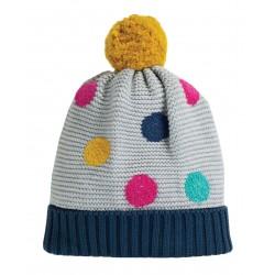 "Bonnet ""Evie Embroidered Bobble Hat, Grey Marl / Multi Spot"" - coton bio"