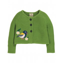 "Cardigan ""Annie Applique Cardigan, Meadow / Finch"" - coton bio"