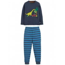 """Pyjama """"Navigator Long John PJs, Space Blue / Dino"""" - coton bio"""
