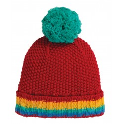 "Bonnet ""Blizzard Bobble Hat, Tango Red / Rainbow"" - coton bio"