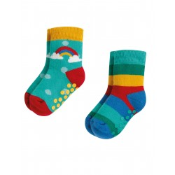 """Assortiment de 2 chaussettes anti-dérapantes """"Grippy Socks 2 Pack, Rainbow Multipack"""" - coton bio"""