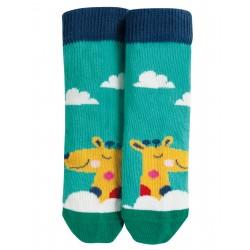"Chaussettes ""Perfect Little Pair Socks, Bright Aqua / Giraffe"" - coton bio"