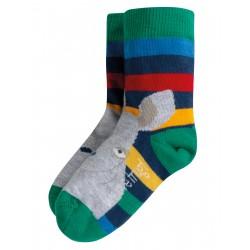 "Assortiment de 2 chaussettes ""Perfect Pair Socks, Rainbow Stripe / Rhino"" - coton bio"
