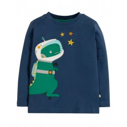 "T-shirt ""Joe Applique Top, Space Blue / Dino"" - coton bio"