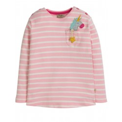 "T-shirt ""Louise Pocket Top, Soft Pink Breton / Unicorn"" - coton bio"