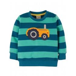 "Sweat bébé ""Jump About Jumper, Pacific Aqua Stripe / Tractor"" - coton bio"