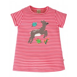 """T-shirt """"Sophie Applique Top, Watermelon Stripe / Deer"""" - coton bio"""