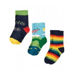 "Chaussettes ""Rock My Socks 3 Pack, Bike Multipack"" - coton bio"
