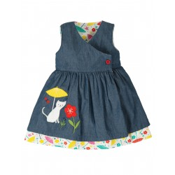 "Robe bébé réversible ""Everly Reversible Dress, Chambray / Cat"" - coton bio"
