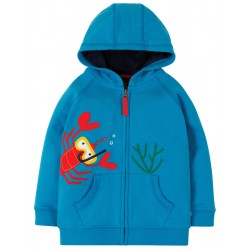 "Sweat ""Lucas Zip Up Hoody, Motosu Blue / Lobster"" - coton bio"