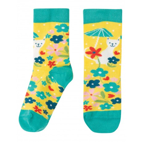 "Chaussettes ""Perfect Little Pair Socks, Sunflower Spot / Cat"" - coton bio"