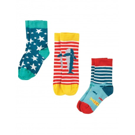 "Chaussettes ""Rock My Socks 3 Pack, Shark Multipack"" - coton bio"
