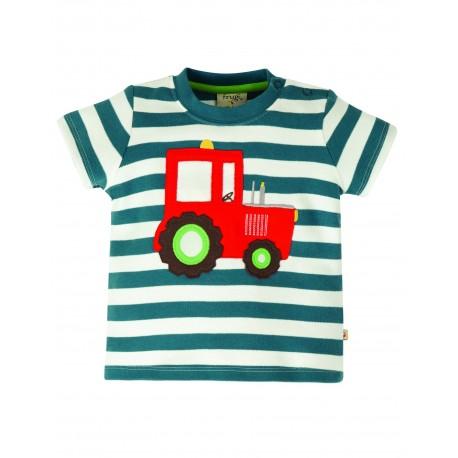 "T-shirt ""Little Wheels Applique Top, Steely Blue Stripe / Tractor"" - coton bio"