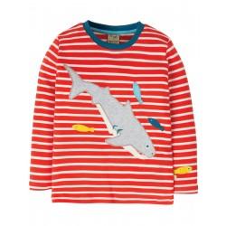 "T-shirt ""Discovery Applique Top, Koi Red Stripe / Shark"" - coton bioo"