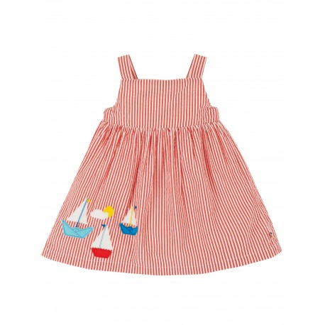 "Robe ""Alma Summer Dress, Koi Red Seersucker / Boat"" - coton bio"