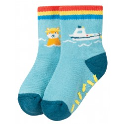 """Chaussettes anti-dérapantes """"Sully Grippy Sock, Bright Sky / Boat"""" - coton bio"""