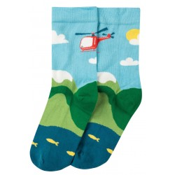 "Chaussettes adultes ""Big Foot Sock, Bright Sky / Helicopter"" - coton bio"