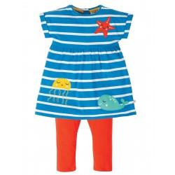 """Ensemble bébé """"Olive Outfit, Motosu Blue Stripe"""" - coton bio"""