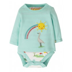 "Body t-shirt ""Poppet 2 in 1 Body, Light Aqua / Rainbow"" - coton bio"